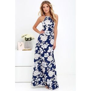 Lulus In Blossom Navy Blue Floral Print Maxi Dress